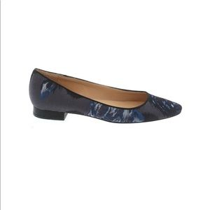 Talbots blue fabric leather sole ballet flats 7AA